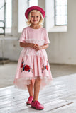 Pink Satin High-Low Dress with White French Lace and Rose Embroidery