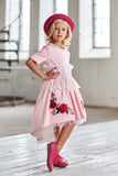 Red Satin Girls High-Low Dress with White French Lace and Rose Embroidery