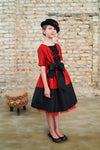 Emma Girls Dress in Red & Black Taffeta - LAZY FRANCIS - Shop in store at 406 Kings Road, Chelsea, London or shop online at www.lazyfrancis.com