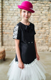 Black Taffeta Trapeze Dress with Lace and Tulle Skirt