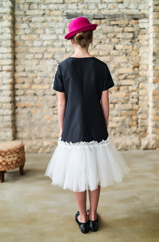 Black Taffeta Trapeze Dress with Lace and Tulle Skirt - LAZY FRANCIS - Shop in store at 406 Kings Road, Chelsea, London or shop online at www.lazyfrancis.com