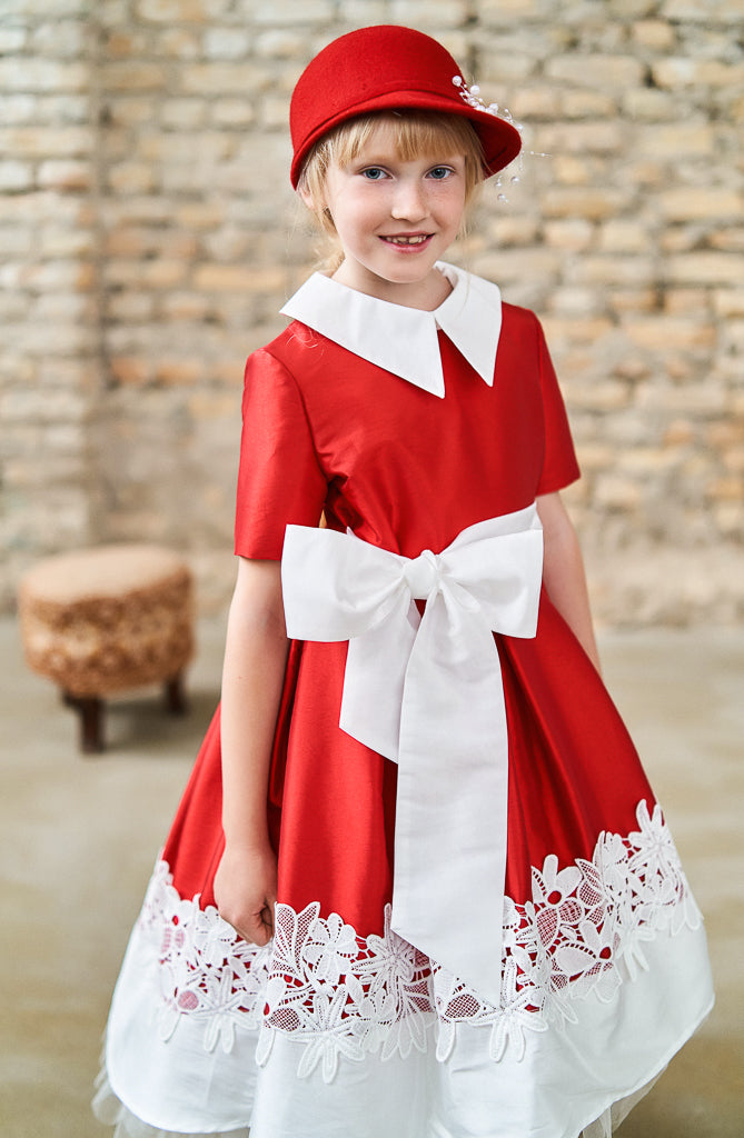 Aurora High-Low Taffeta Girls Dress in Red - LAZY FRANCIS - Shop in store at 406 Kings Road, Chelsea, London or shop online at www.lazyfrancis.com