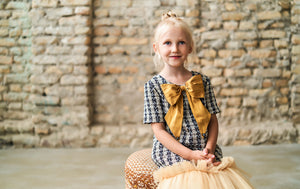 Tweed Trapeze Girls Dress with Sparkly Gold Tulle Skirt and Lush Bow - LAZY FRANCIS - Shop in store at 406 Kings Road, Chelsea, London or shop online at www.lazyfrancis.com