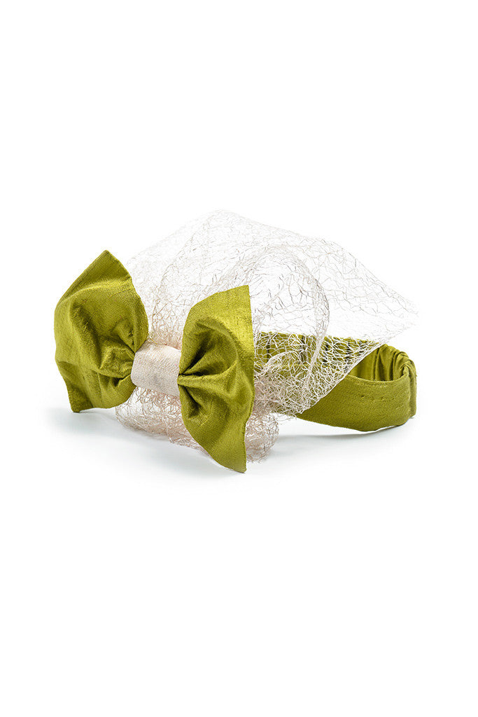 Green Raw Silk Bow Headband with Lace Voile - LAZY FRANCIS - Shop in store at 406 Kings Road, Chelsea, London or shop online at www.lazyfrancis.com