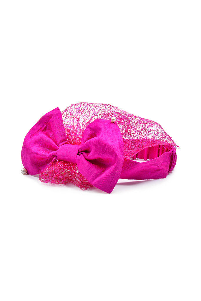 Fuchsia Raw Silk Bow Headwrap with Lace Voile and Pearls - LAZY FRANCIS - Shop in store at 406 Kings Road, Chelsea, London or shop online at www.lazyfrancis.com
