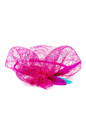Fuchsia Firebird Feather & Lace Headband - LAZY FRANCIS - Shop in store at 406 Kings Road, Chelsea, London or shop online at www.lazyfrancis.com