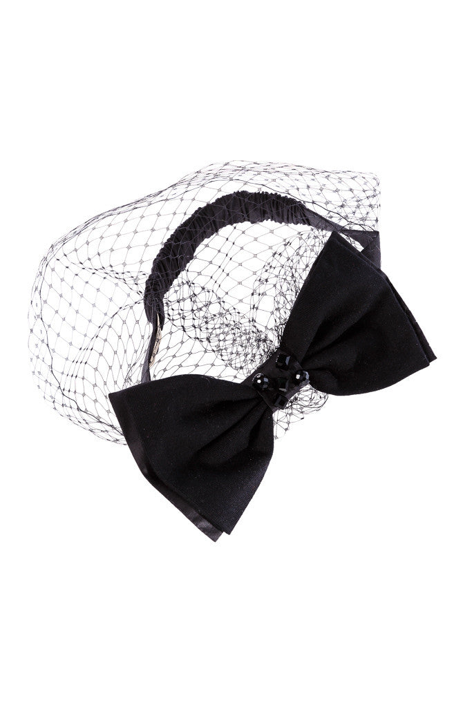 Lush Bow Elastic Headband with Voile - LAZY FRANCIS - Shop in store at 406 Kings Road, Chelsea, London or shop online at www.lazyfrancis.com