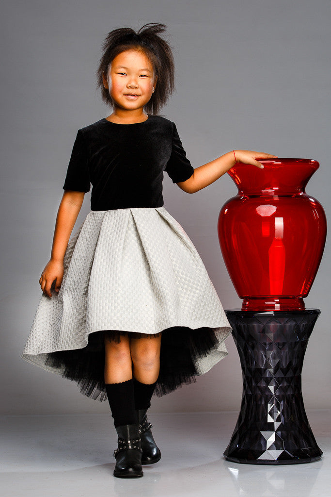 Black Velvet & Ivory Jacquard High-Low Dress with White Tulle Underskirt - LAZY FRANCIS - Shop in store at 406 Kings Road, Chelsea, London or shop online at www.lazyfrancis.com