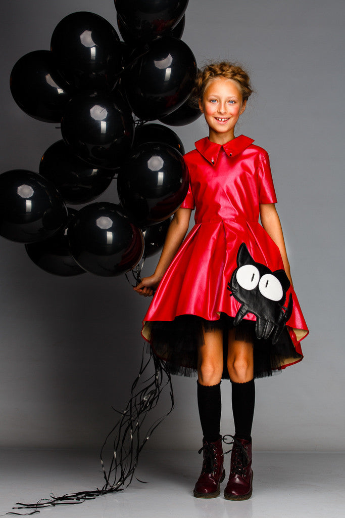 Red Eco-leather High-Low Dress with Cat Appliqué and Black Tulle Underskirt - LAZY FRANCIS - Shop in store at 406 Kings Road, Chelsea, London or shop online at www.lazyfrancis.com
