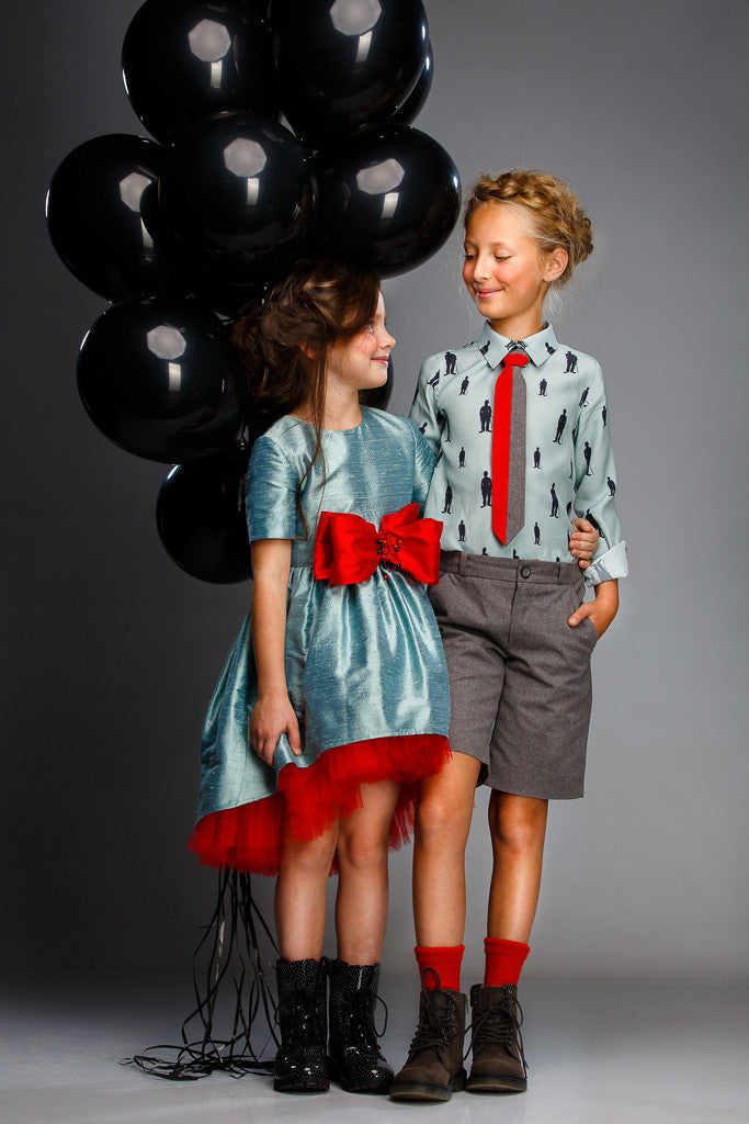 Aquamarine Raw Silk High-Low Girls Dress with Lush Red Bow