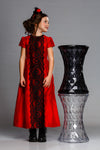 Exclusive Designer Red Raw Silk Girls Maxi Dress with Black Lace party Birthday Special Occasion Front