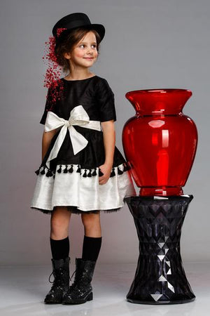Black & White Taffeta Full Dress with Tassels and Lush Bow - LAZY FRANCIS - Shop in store at 406 Kings Road, Chelsea, London or shop online at www.lazyfrancis.com