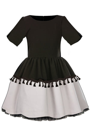 Black and Grey Full Dress with Tassels, Lush Bow and Black Tulle Underskirt - LAZY FRANCIS - Shop in store at 406 Kings Road, Chelsea, London or shop online at www.lazyfrancis.com