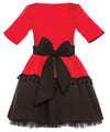 Red and Black Full Dress with Tassels, Lush Bow and Black Tulle Underskirt - LAZY FRANCIS - Shop in store at 406 Kings Road, Chelsea, London or shop online at www.lazyfrancis.com