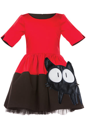Red & Black Full Girls Dress with Cat Appliqué and Black Tulle Underskirt - LAZY FRANCIS - Shop in store at 406 Kings Road, Chelsea, London or shop online at www.lazyfrancis.com