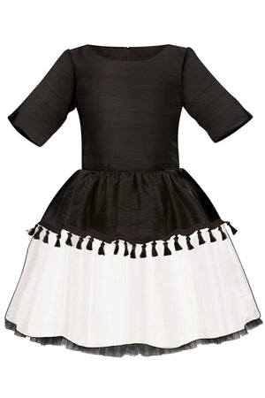 Black & White Raw Silk Full Girls Dress with Tassels and Lush Bow - LAZY FRANCIS - Shop in store at 406 Kings Road, Chelsea, London or shop online at www.lazyfrancis.com