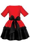 Red & Black Taffeta Girls Dress with Tassels and Black Tulle Underskirt