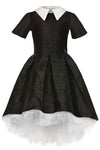 Black Raw Silk High-Low Girls Dress with French Collar - LAZY FRANCIS - Shop in store at 406 Kings Road, Chelsea, London or shop online at www.lazyfrancis.com