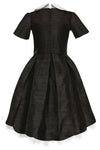 Black Raw Silk High-Low Girls Dress with French Collar