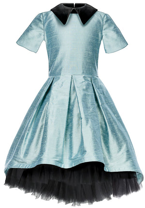 THIS IS A CELEBRITY DRESS! Ivy Aquamarine Raw Silk High-Low Girls Dress - LAZY FRANCIS - Shop in store at 406 Kings Road, Chelsea, London or shop online at www.lazyfrancis.com