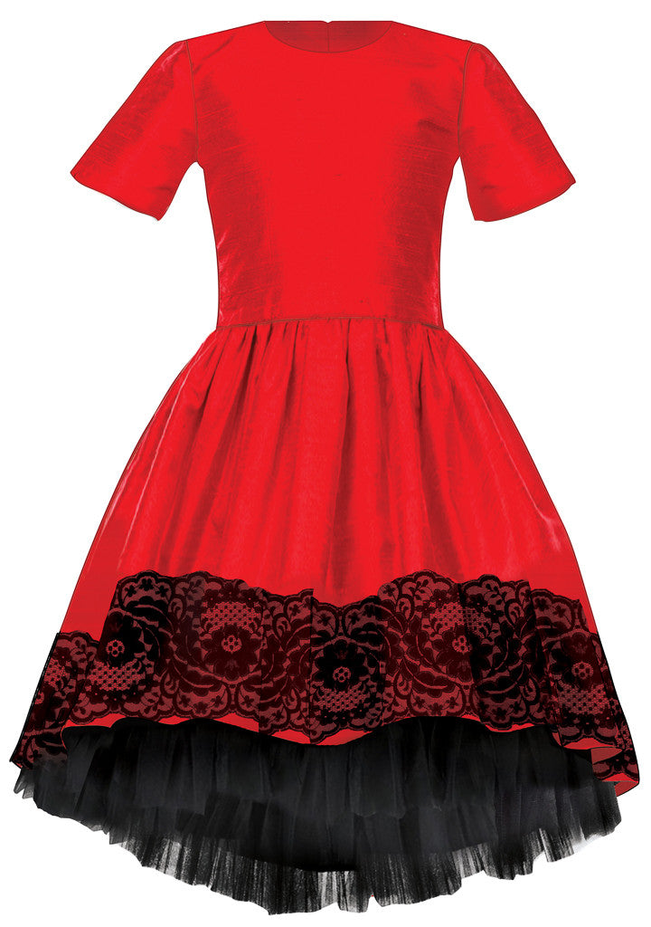 Exclusive Designer Red Raw Silk Girls High-Low Dress with Black Lace Party Birthday Special Occasion Front