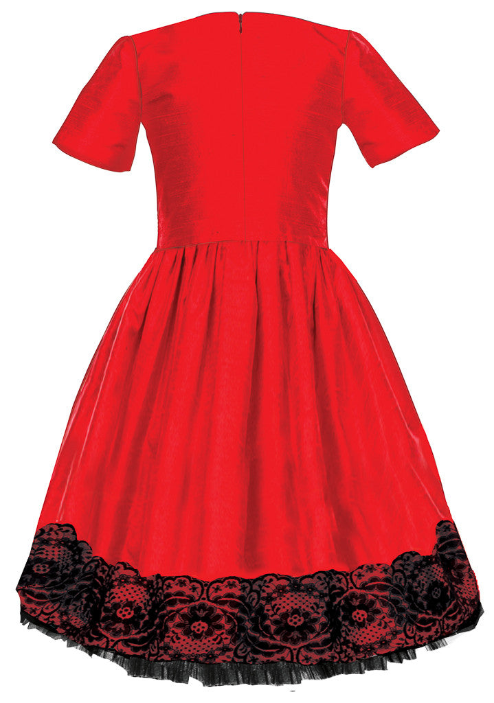 Exclusive Designer Red Raw Silk Girls High-Low Dress with Black Lace Party Birthday Special Occasion Back