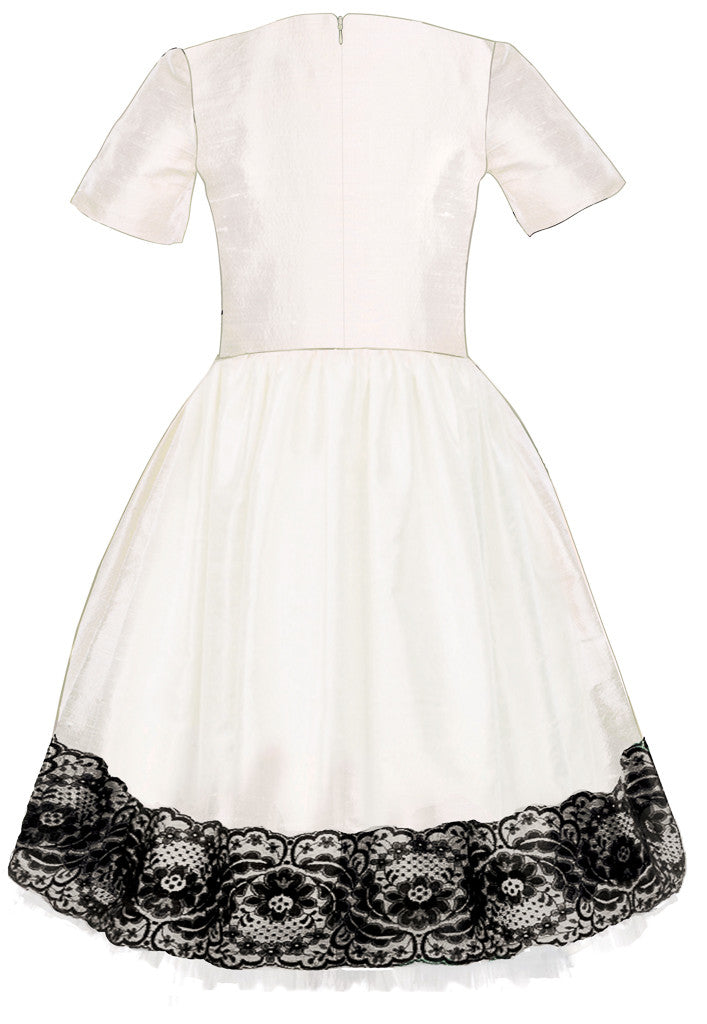 Exclusive Designer Off White Raw Silk Girls High-Low Dress with Black Lace and White Tulle Underskirt Special Occasion Party Birthday Back
