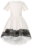 Exclusive Designer Off White Raw Silk Girls High-Low Dress with Black Lace and White Tulle Underskirt Special Occasion Party Birthday Front