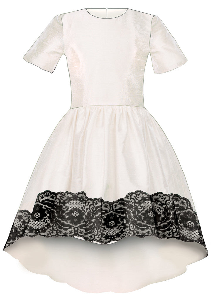 Exclusive Designer Girls White Raw Silk High-Low Dress with Black Lace Special Occasion Birthday Party Front
