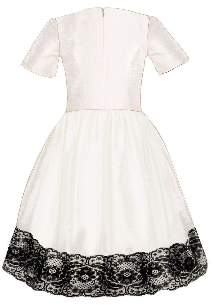 Exclusive Designer Girls White Raw Silk High-Low Dress with Black Lace Special Occasion Birthday Party Back