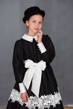 Classic Long Sleeved Girls Dress in Black Taffeta - LAZY FRANCIS - Shop in store at 406 Kings Road, Chelsea, London or shop online at www.lazyfrancis.com