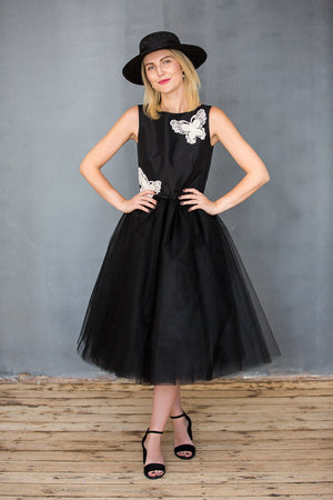 Pearl Butterfly Woman's Tutu Dress in Black - LAZY FRANCIS - Shop in store at 406 Kings Road, Chelsea, London or shop online at www.lazyfrancis.com