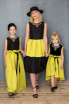 Neoprene High-Low Girls Dress with Gem Stone Necklace in Yellow Green