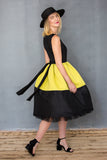 Samantha Woman's Dress in Black Taffeta & Yellow Neoprene