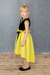 Neoprene High-Low Girls Dress with Gem Stone Necklace in Yellow Green - LAZY FRANCIS - Shop in store at 406 Kings Road, Chelsea, London or shop online at www.lazyfrancis.com