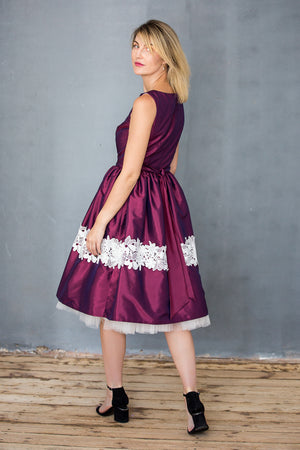 Charlotte Woman's Dress in Plum Taffeta - LAZY FRANCIS - Shop in store at 406 Kings Road, Chelsea, London or shop online at www.lazyfrancis.com