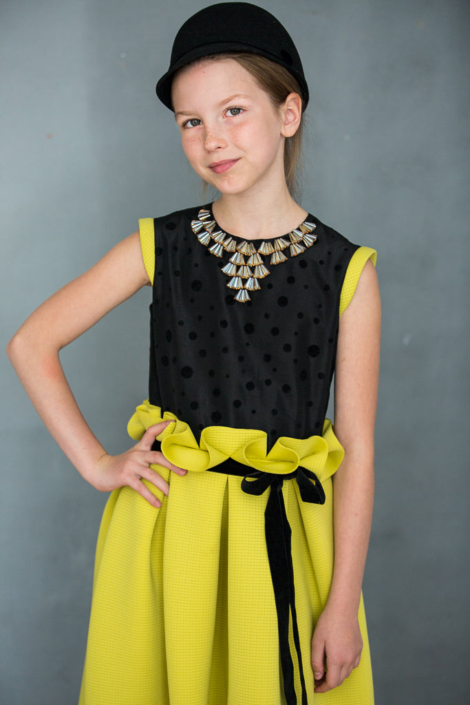 Neoprene Maxi Girls Dress with Gem Stone Necklace in Yellow Green - LAZY FRANCIS - Shop in store at 406 Kings Road, Chelsea, London or shop online at www.lazyfrancis.com