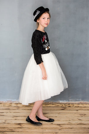 Black & Red Jacquard High-Low Girls Tutu Dress with Dog Appliqué - LAZY FRANCIS - Shop in store at 406 Kings Road, Chelsea, London or shop online at www.lazyfrancis.com