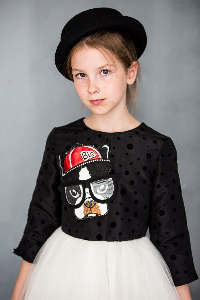 Black & White Jacquard High-Low Girls Tutu Dress with Dog Appliqué - LAZY FRANCIS - Shop in store at 406 Kings Road, Chelsea, London or shop online at www.lazyfrancis.com