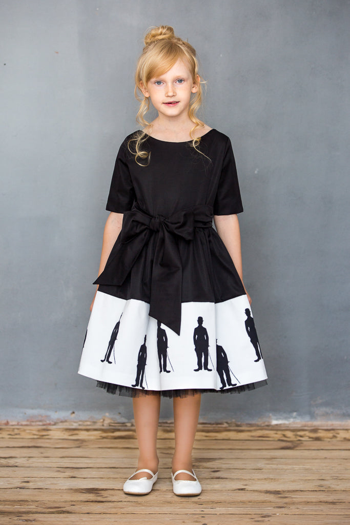Black Dress with Exclusive White Cotton Charlie Chaplin Dress with Tulle Underskirt - LAZY FRANCIS - Shop in store at 406 Kings Road, Chelsea, London or shop online at www.lazyfrancis.com