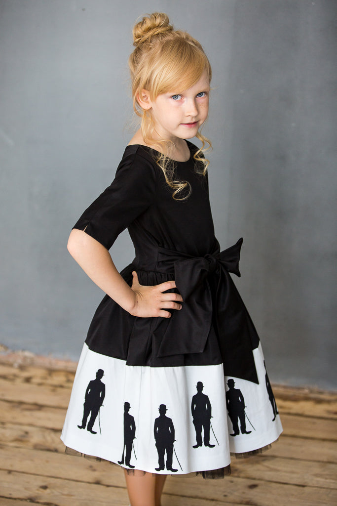 Black Dress with Exclusive Charlie Chaplin Print and Tulle Underskirt - LAZY FRANCIS - Shop in store at 406 Kings Road, Chelsea, London or shop online at www.lazyfrancis.com