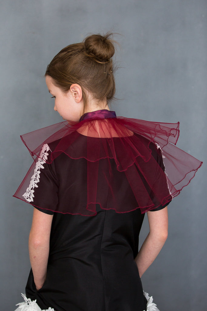 Marie Antoinette Tulle Pelerine in Plum - LAZY FRANCIS - Shop in store at 406 Kings Road, Chelsea, London or shop online at www.lazyfrancis.com