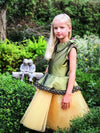 NEW! Olive & Gold Taffeta Peplum Girls Tutu Dress with Lace