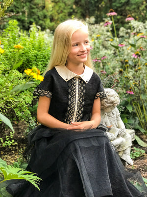 NEW! Black Viscose Layered Girls Maxi Dress with Golden Lace