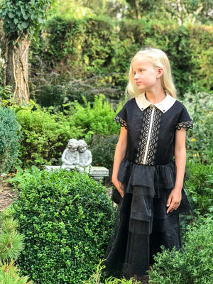 NEW! Black Viscose Layered Girls Maxi Dress with Golden Lace - LAZY FRANCIS - Shop in store at 406 Kings Road, Chelsea, London or shop online at www.lazyfrancis.com