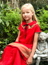 NEW! Juicy Red Taffeta Layered Girls Maxi Dress with Detachable Gold Lace Collar - LAZY FRANCIS - Shop in store at 406 Kings Road, Chelsea, London or shop online at www.lazyfrancis.com