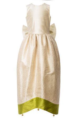 Light Cream Raw Silk Scheherazade's Maxi Couture Girls Dress