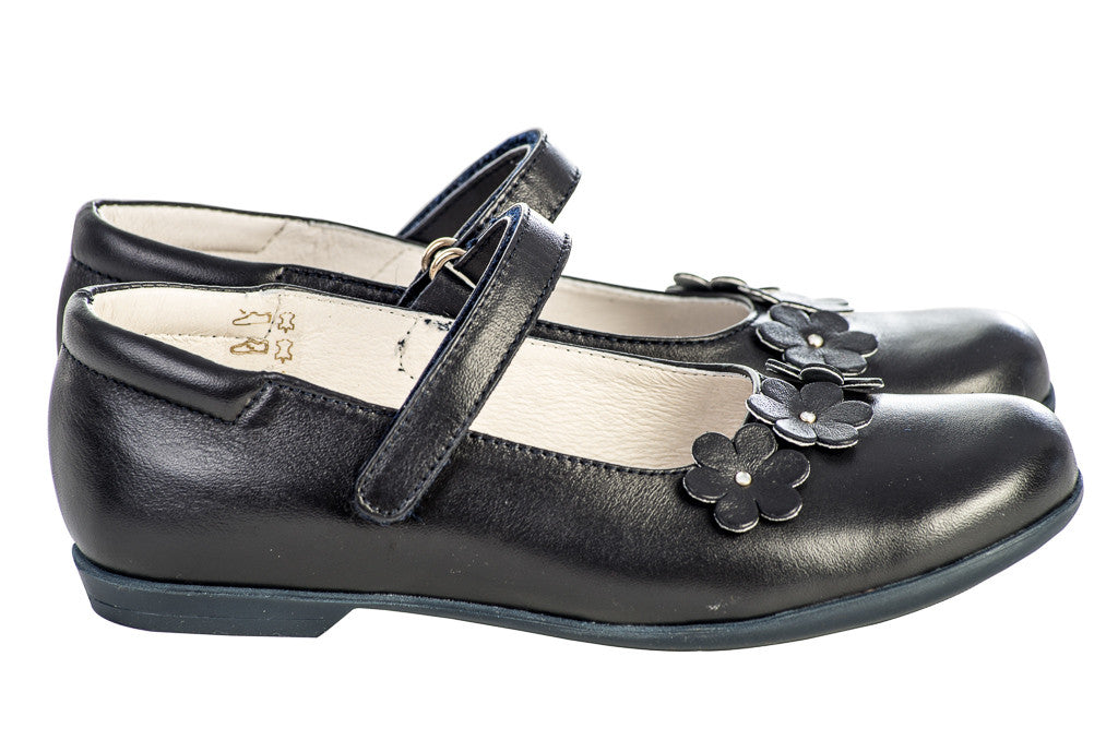Lazy Francis Dark Navy Blue Leather Girls Mary-Jane Shoes With Flower Appliqué sale