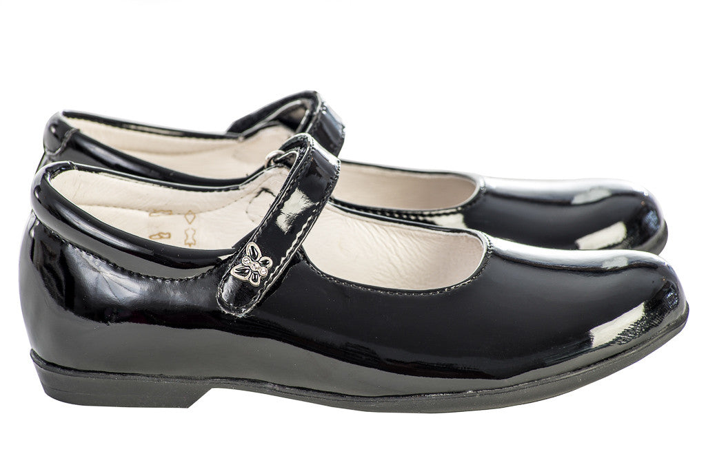 Lazy Francis Black Lacquer Girl's Mary-Jane Shoes side sale