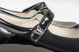 Lazy Francis Black Lacquer Leather Girl's Mary-Jane Shoes - LAZY FRANCIS - Shop in store at 406 Kings Road, Chelsea, London or shop online at www.lazyfrancis.com